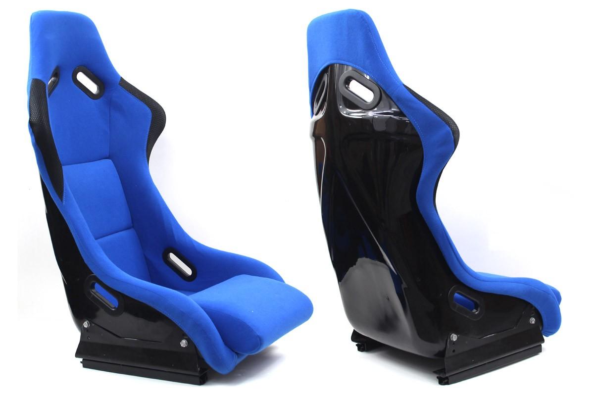 Fotel sportowy EVO Welur Blue - GRUBYGARAGE - Sklep Tuningowy